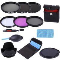 55mm 55mm UV CPL FLD ND 2 4 8 ND Filter Kit + Gegenlichtblende + Objektivdeckel + 3 in 1 lens Cleaning kit + Filter für Dslr-kamera Objektiv