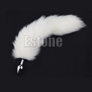 1PC White Fox Tail Butt Metal Plug 35cm Long Anal Sex Toy New hot sale