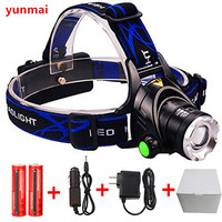 3 Modes CREE XML T6 2500LM LED Headlamp Rechargeable Headlight Head Lamp Spotlight For Fishing Charger