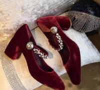 Hot selling square toe Mary Janes vintage shoes 2017 wine red velvet crystal embellished high heel shoe woman thick heels pumps
