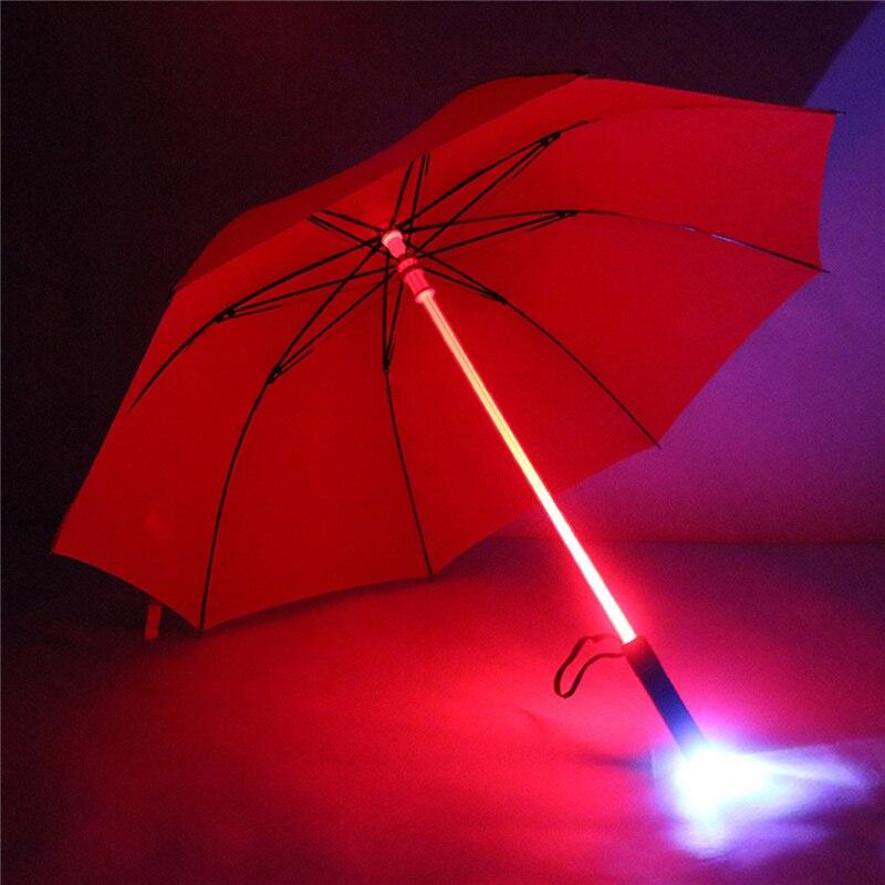 Пластик красный Пеший Туризм дождь прозрачный зонтик led мужчин и женщин мигающий на ночь свет держатель ролик водонепроницаемый ветрозащитный зонтики
