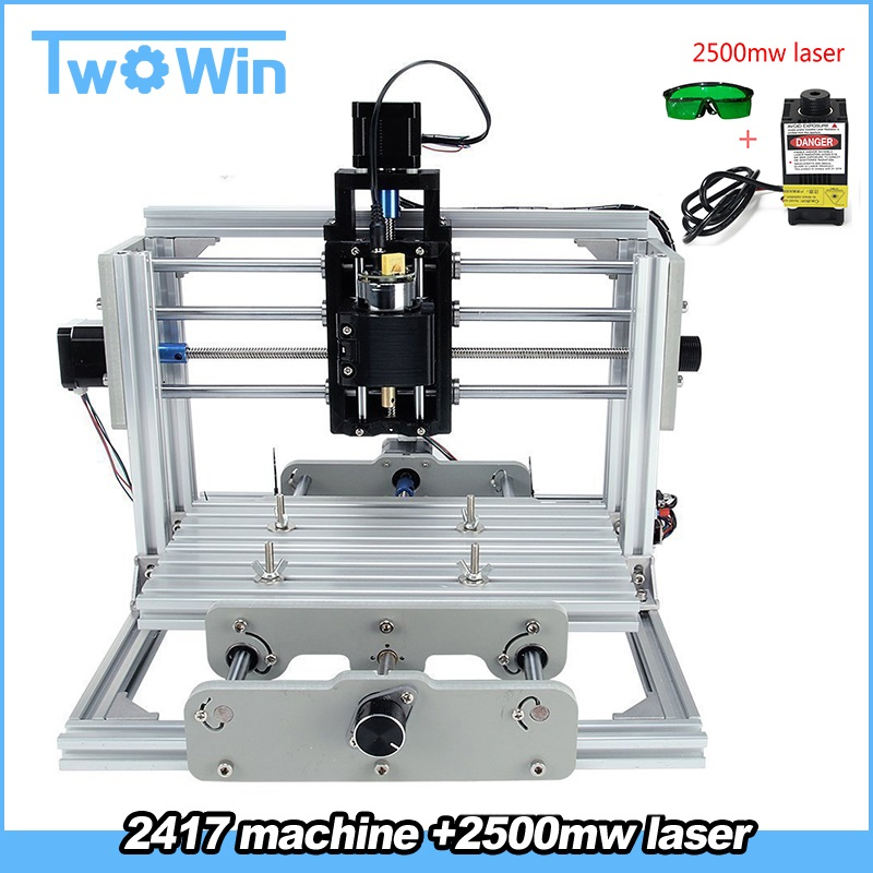 Cnc 2417 Diy Wood Router 3 Axis Mini Pcb Milling Laser Machine Cnc Engraving Metal Carving Machine For Grbl Control