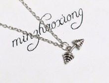 ФОТО fashion vintage ancient silver dumbbell barbell fitness sports charms pendants necklace statement choker sporter gifts 10pcs
