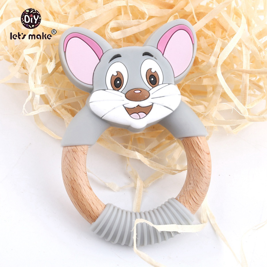 Let's Make Beech Wooden Mouse Teether Ring 20pc BPA Free Wooden Teething Molar Silicone Animal Teeth Toy Nursing Pendant