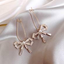 Elegant Bow Crystal Romantic Rhinestone Decorated Earrings For Women Korean 2019 New Wholesale