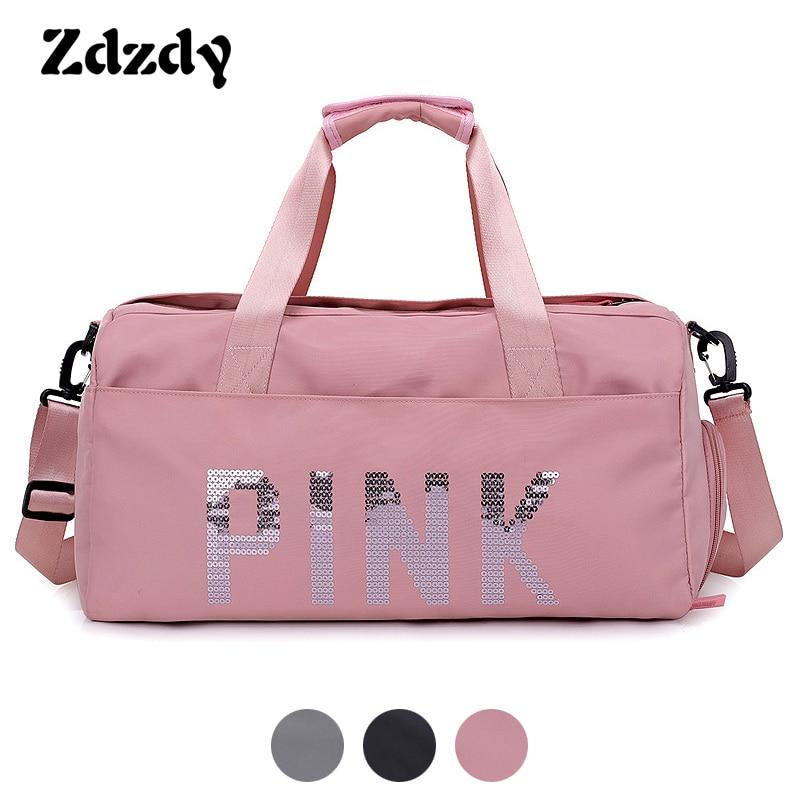 1cadf5ecad77 Women Pink Travel Bag Pink Sequins Shoulder Bag Ladies Waterproof Wash  Handbag Weekend Portable Duffle Bag Female Travel Totes-in Travel Bags from  Luggage ...