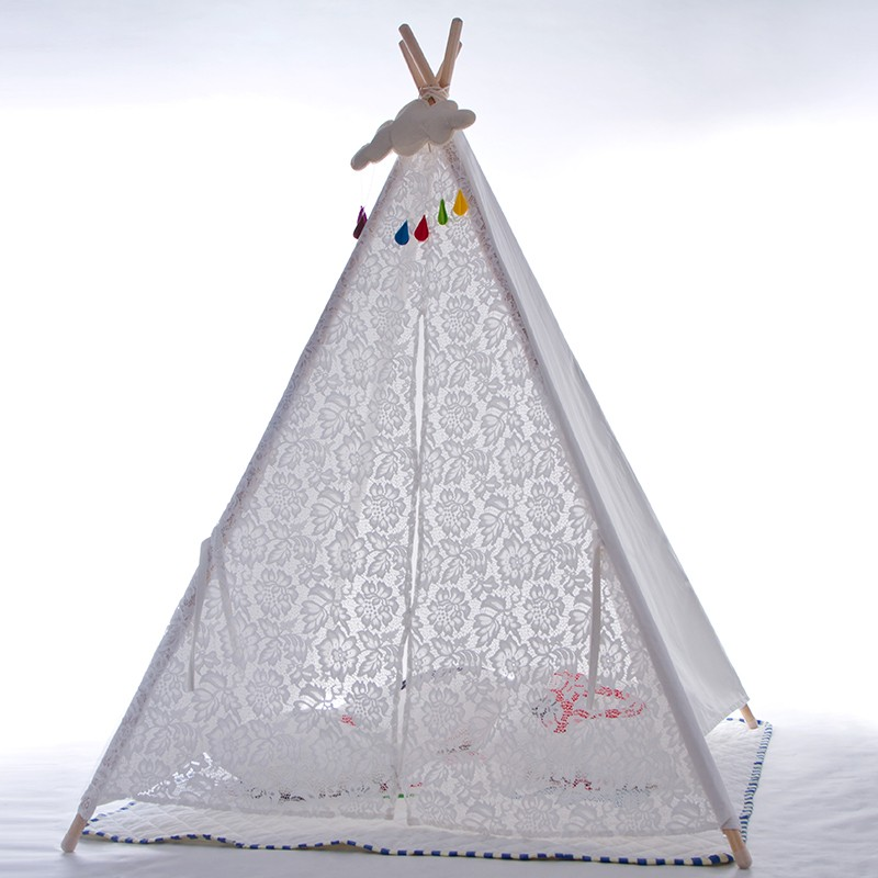 White Canvas Lace Teepee Girls Teepee Tipi Tent Photography Props Baby Shower Gift red chevron canvas dog tent house pet teepee tipi dog tee pee cat teepee