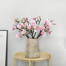 3d Printing Classic Little Magnolia Potted Flowers Desk Artificial Miniature Plant Hotel Decoration Fleur Blumen