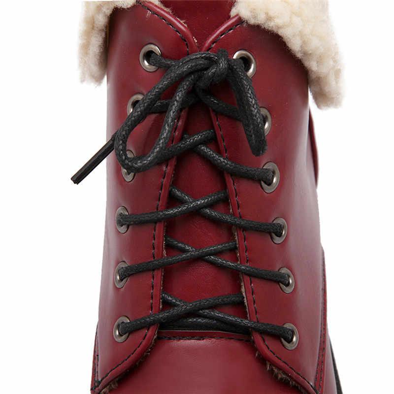ASUMER büyük boy 33-42 moda kadın çizmeler yuvarlak ayak lace up kış kar botları Retro düşük topuklu bayan yarım çizmeler kadın ayakkabısı