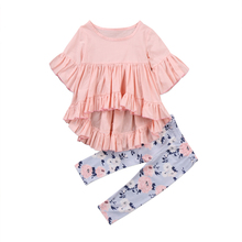 2pcs Toddler Kids Baby Girl Clothes Outfits Ruffle Sleeve Cotton T shirt Top Flroal Pants Trousers