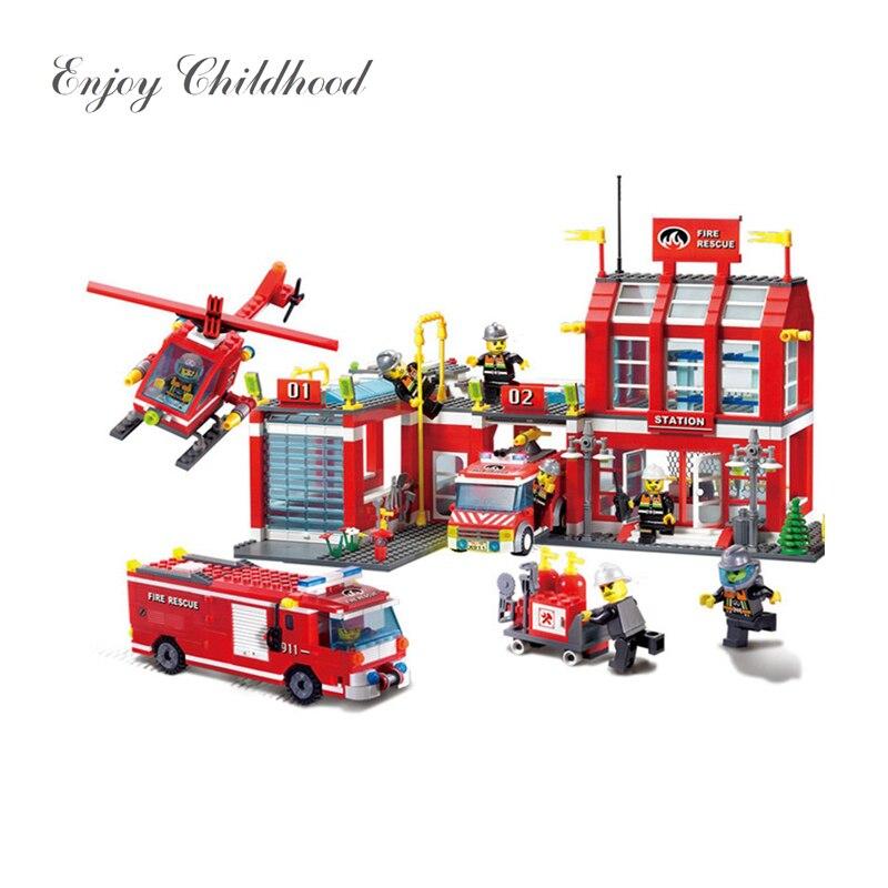 Дети игрушечные лошадки Новый 911 970 шт. город серии пожарная станция спасения Управление Регионального бюро здания игрушечный конструктор д...