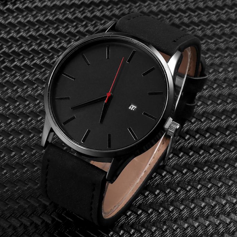 Simple Men Quartz Watch Relogio Masculino Military Sport Wristwatch Leather Strap Mens Reloj Complete Calendar Watches Hom Saati 1