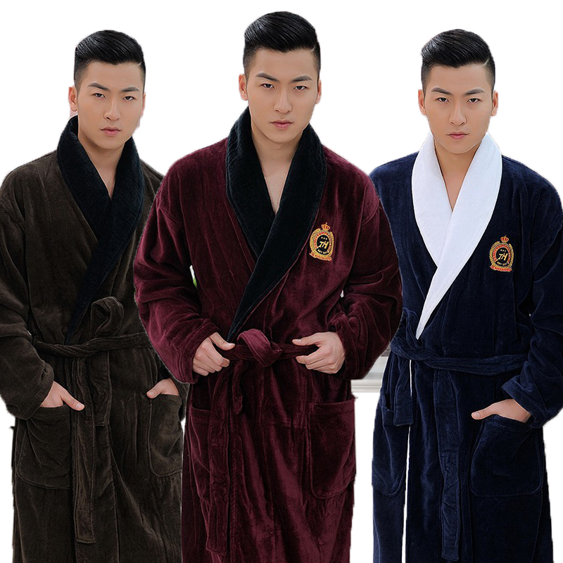 Men Bathrobe  XL Winter Thicken Long Kimono Men's Robe Blanket Towel Fleece High-end Bathrobes Home Hotel Love Soft Autumn