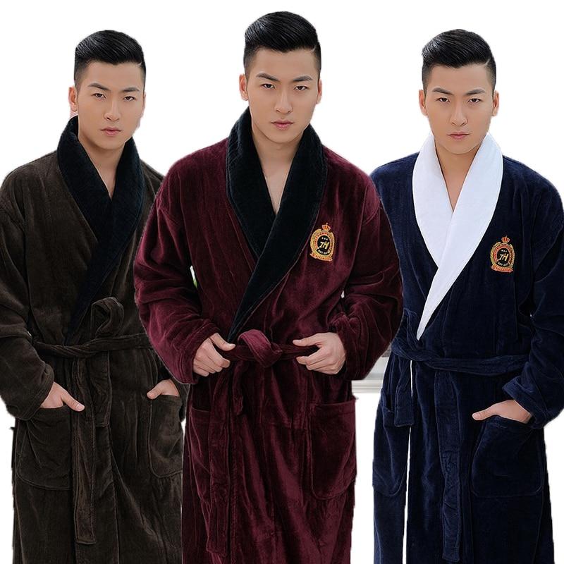 Men Bathrobe  XL Winter Thicken Long Kimono Men's Robe Blanket Towel Fleece High-end Bathrobes Home Hotel Love Soft Autumn