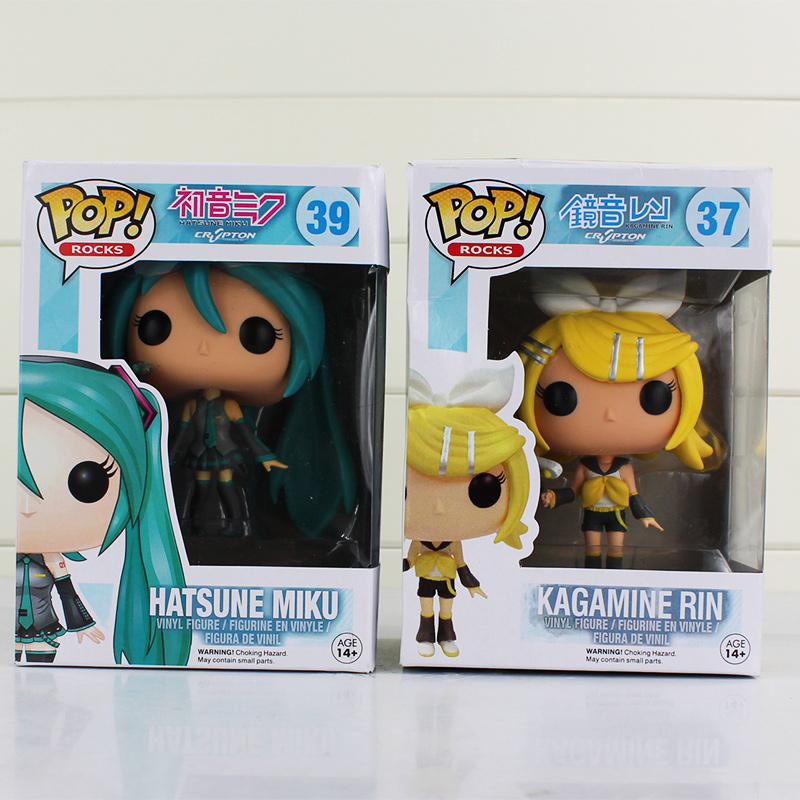 2Pcs/Lot Funko <font><b>POP</b></font> Anime Hatsune Miku Action <font><b>Figures</b></font> <font><b>VOCALOID</b></font> <font><b>Kagamine</b></font> <font><b>Rin</b></font> <font><b>Vinyl</b></font> Figurine #37 #39 Collectable Model Doll Toys