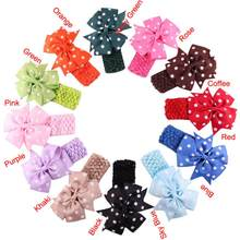 Children Headbands Cloth girl hair band flower Head bows infant Wear Hair Wave Bandeau bow knot kids clips ties hair acessories(China)