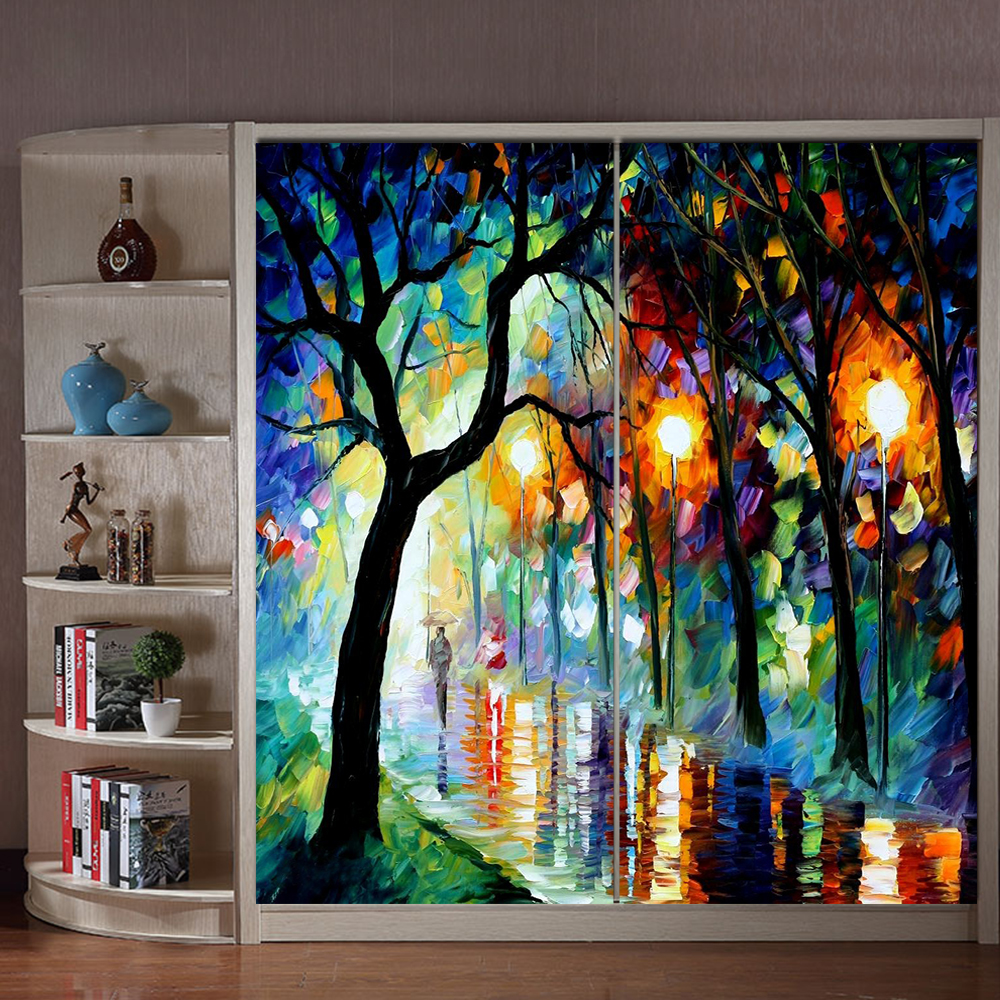 Yazi personalized size cityscape night oil painting pvc for Art glass windows and doors