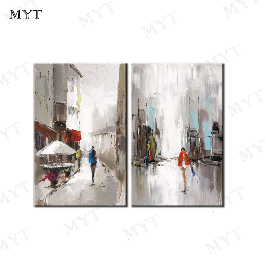 MYT Handpainted Lover Street Landscape Oil Painting On Canvas Modern Home Decor For Living Room Hall
