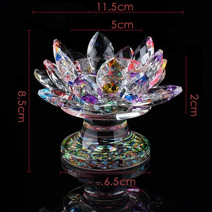 Colorful Lotus Crystal Candle Stand Candlestick Holder Creative Crystal Flower Crafts Paperweight Fengshui Buddha Decor Ornament in Candle Holders from Home Garden