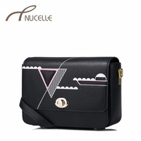 NUCELLE Women Leather Messenger Bags Ladies Fashion Printed Geometric Bags Female Brief Leisure Flap Crossbody Bags