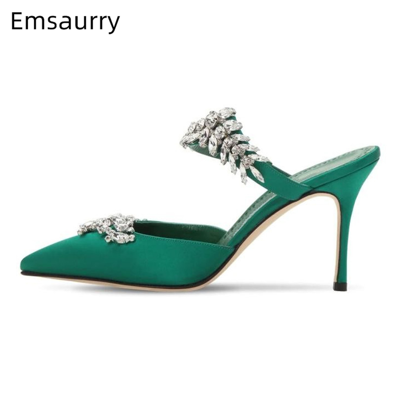 Luxury Rhinestone <font><b>High</b></font> <font><b>Heel</b></font> <font><b>Shoes</b></font> <font><b>Woman</b></font> <font><b>Sexy</b></font> Pointed Toe Satin Jeweled Crystal Slingback Slip On Mules Fashion <font><b>Slippers</b></font> <font><b>Women</b></font> image