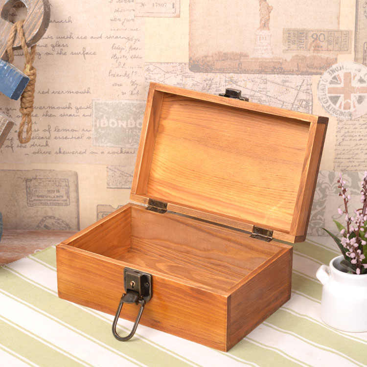 Zakka Vintage Solid Wood Box with Lock Jewelry Secret Diary Letters Storage  Box Desktop Organization