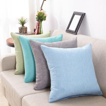 Pure Color Cushion Cover Linen Sofa Bed Home Decoration Car Waist Pillow Case image
