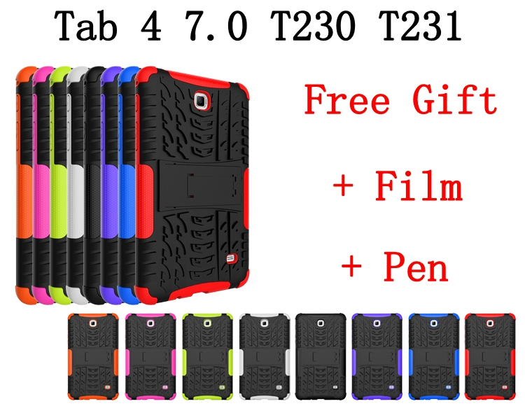 on-line store Hybrid Stand Hard PC+TPU Rubber Armor Case Cover For Samsung Galaxy Tab 4 7.0 T230 T231 T235 Tablet case+screen film+pen Coque