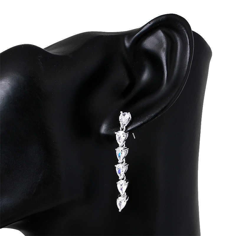 WEIMANJINGDIAN หยดน้ำตา Cubic Zirconia คริสตัลสร้อยคอต่างหูเครื่องประดับชุดเจ้าสาว Silver หรือ GOLD สี
