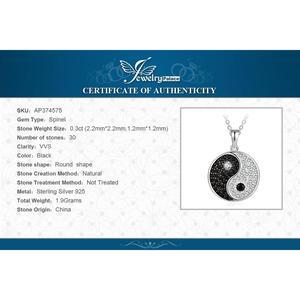 Image 5 - JPalace Taiji naturel noir spinelle pendentif collier 925 en argent Sterling pierres précieuses collier ras du cou femmes sans chaîne