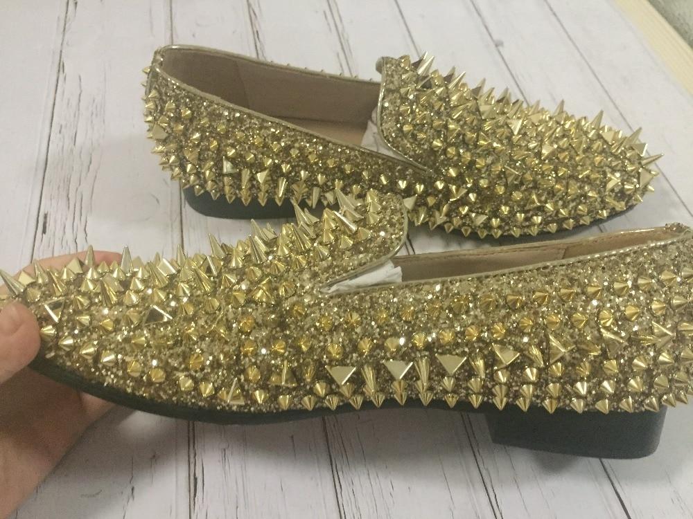 Hommes Mocassins En Or Mariage Appartements Chaussures Cuir Yue Pointu Slip Paillettes Mode Sur Bling Rivets Banque Jabon De AYqwIBg