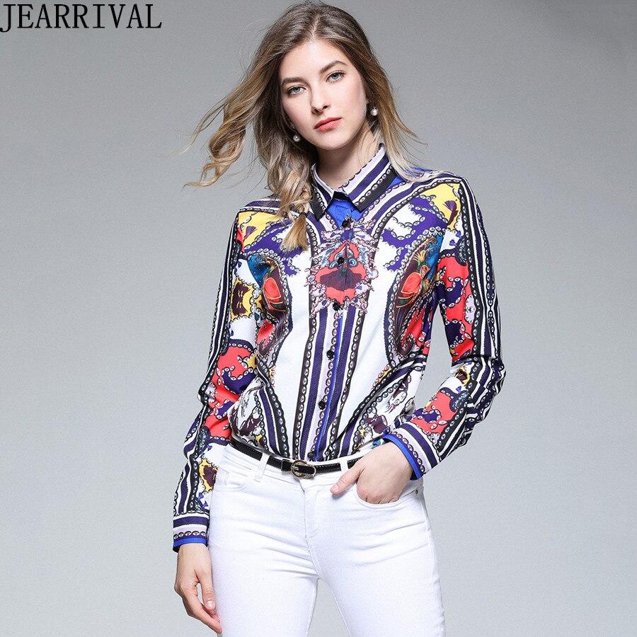 2018 New Fashion Runway Shirt Womens Long Sleeve Blouse Autumn