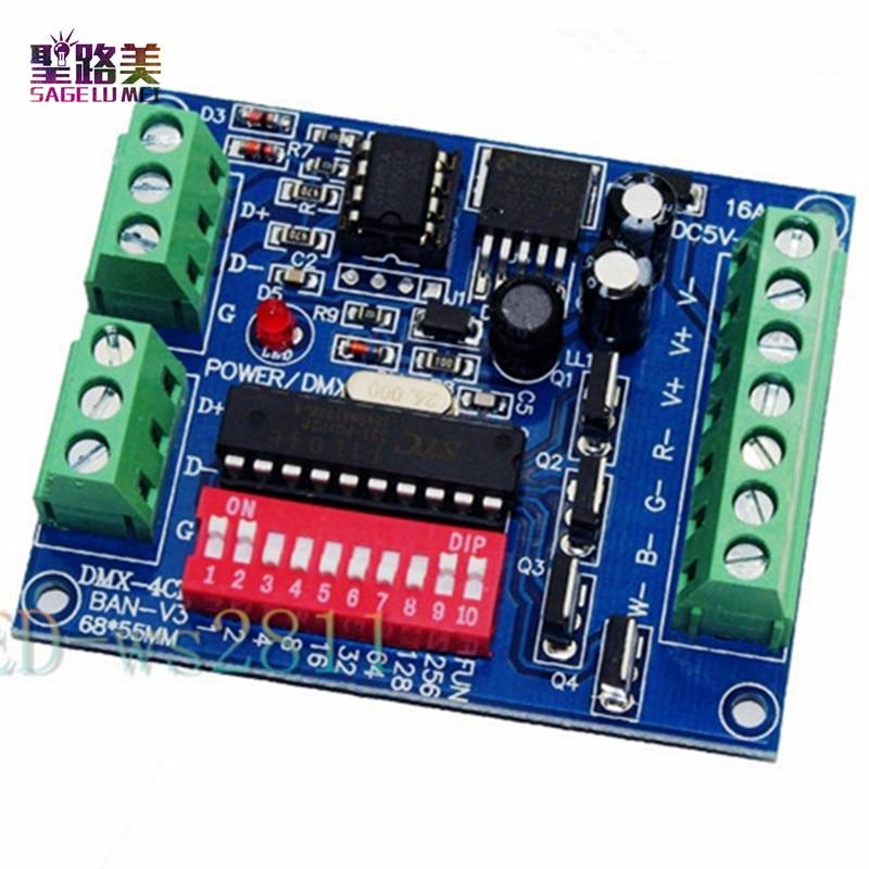Оптовий 4CH 4-канальний RGBW Easy dmx512 DMX-декодер, диммер, контролер, драйвер, DC5V-24V для світлодіодної смуги світлодіодної стрічки
