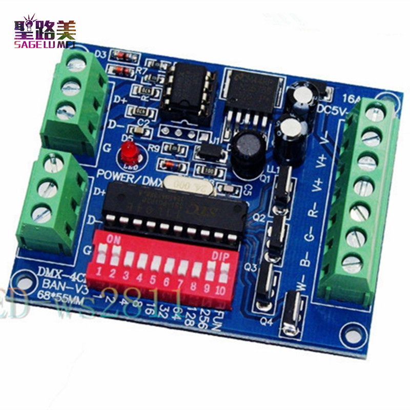 Wholesale 4CH 4 Channel RGBW Easy Dmx512 DMX Decoder,Dimmer,Controller,Driver,DC5V-24V For LED Strip Light Tape Lamp Module