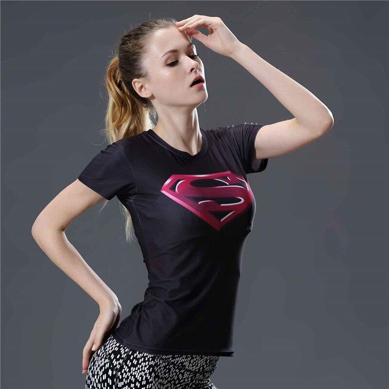 16  3D Superman Captain America Superhero T Shirt Women Summer Top Fitness Compression Shirt Short Sleeve O-neck Tight Tshirt Women