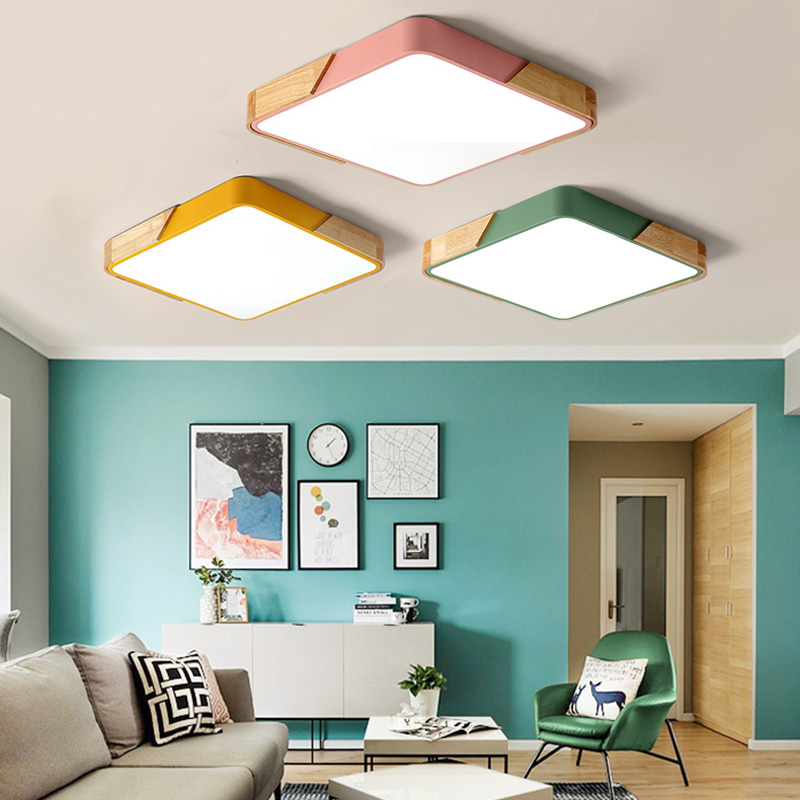square Multicolor LED Ceiling Light Modern Lamp Living Room Lighting  Fixture Bedroom Kitchen Surface Mount Flush Panel lamp