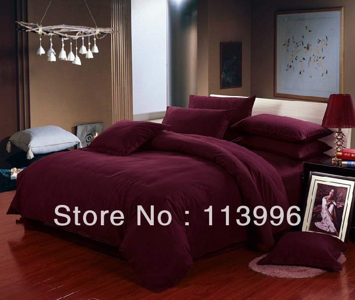 Wine Red Solid Color Thick Brushed Cotton Bedding Set