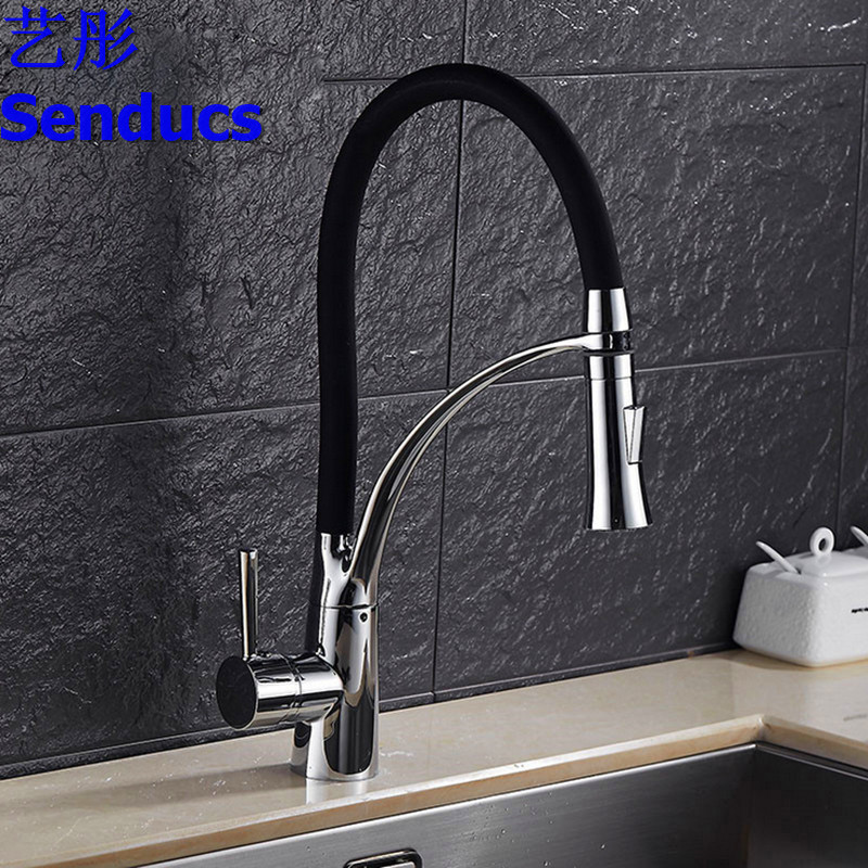 Free shipping Senducs luxury kitchen faucet with deck mounted brass kitchen sink faucet or chrome LED