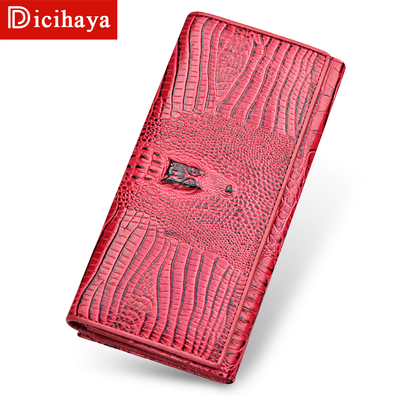 DICIHAYA Genuine Leather Women Wallets Luxury Brand Crocodile Print Design High Quality Women Long Purse Card Holder Long Clutch brand unique design crocodile head pattern genuine leather men s wallets high quality by gmw007