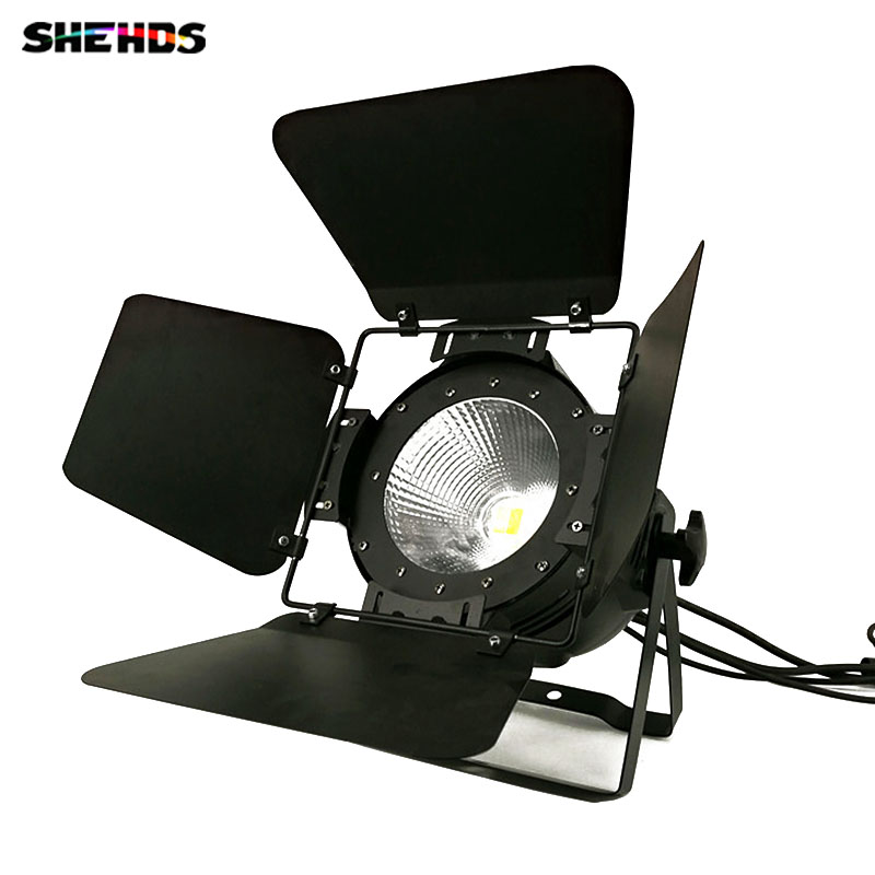 4 pcs/lot LED Par COB 100W With Barn Doors ,High Power Aluminium Case Stage Lighting with 100W COB Cool and Warm White,SHEHDS t 8 lot 100w rgbw 4 in 1 cw ww cob par 64 led stage studio par light with barn doors