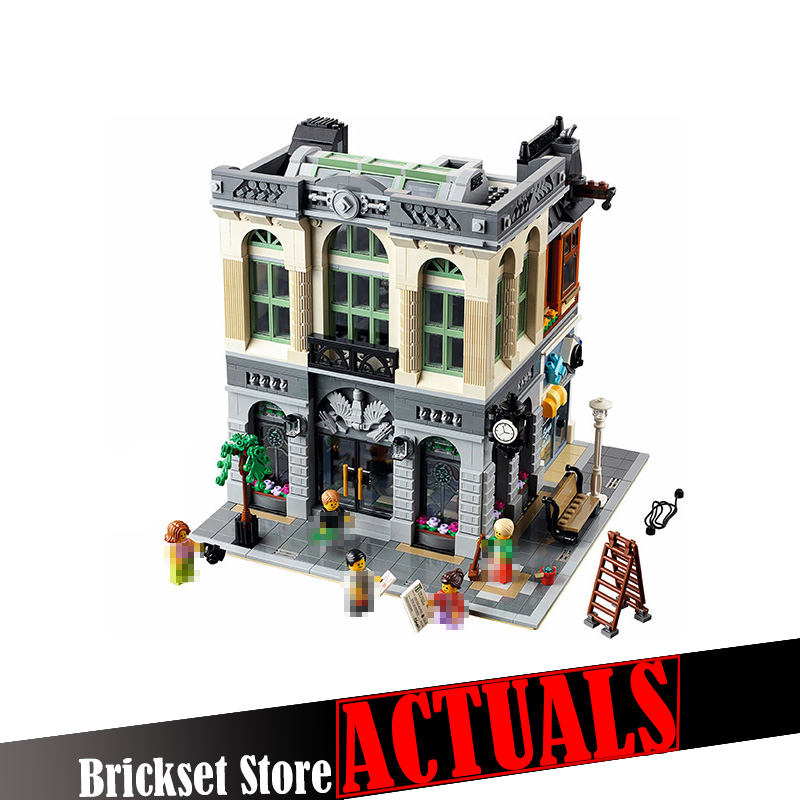 LEPIN 15001 Brick Bank Street View Creator Building Blocks Bricks DIY Toys For Boys oyuncak Compatible with legoINGly 10251