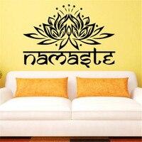 Art Design Indian Namaste Woorden Religie Muurtattoo Vinyl Lotus Yoga Sticker Boeddha Ganesha Interieur Slaapkamer Bloem Muurschildering