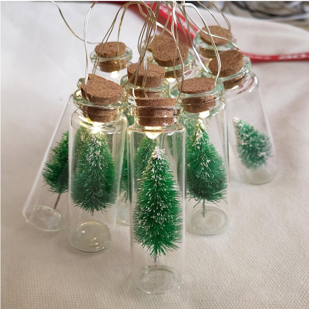 Christmas Tree Glass Jar String Fairy Lights Bottle Garland