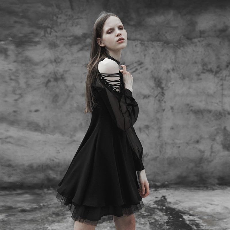 Cravate Sexy Foncé Black 365lqf Femmes Mince Fil Femelle Manches Rave Petit VCollier Mode Corde Punk Cors Bandage Gothique Opq Maïs Avec Robe Bretelles qzVGSMUp