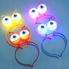 New Alien Eyeball LED Hair Hoop Flashing Glow Headband Crown Heart Light Up Hairbands Hair Accessories Glow Party Christmas цена 2017