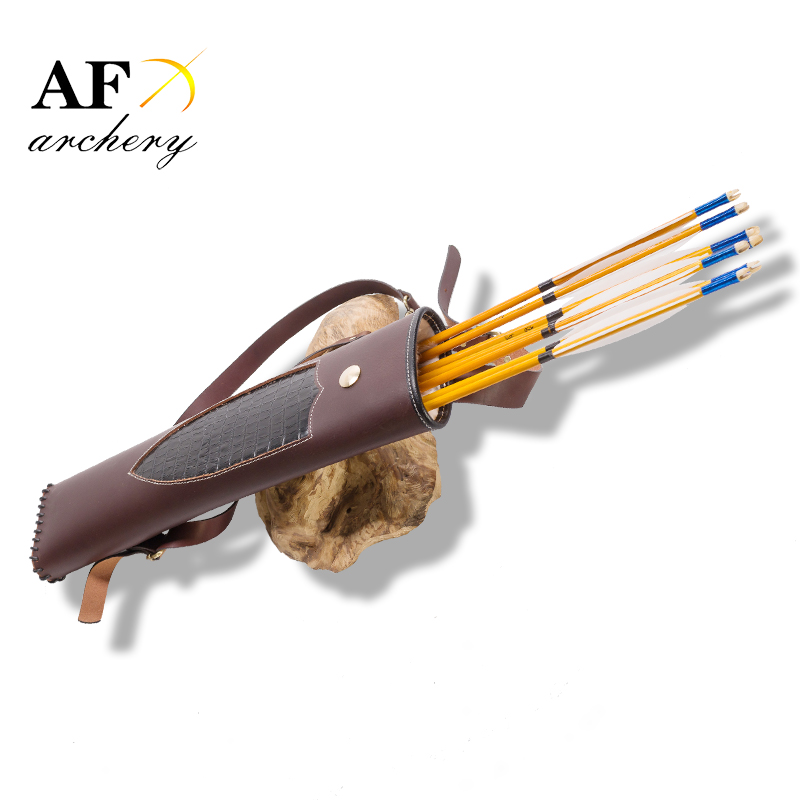 High quality Hand Crafted three point shoulder back type Archery Quiver Brown holding for Hunting