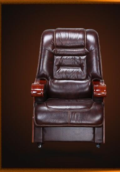 Купить с кэшбэком Boss chair leather reclining chair chair office chair solid wood chair four-foot computer chair.