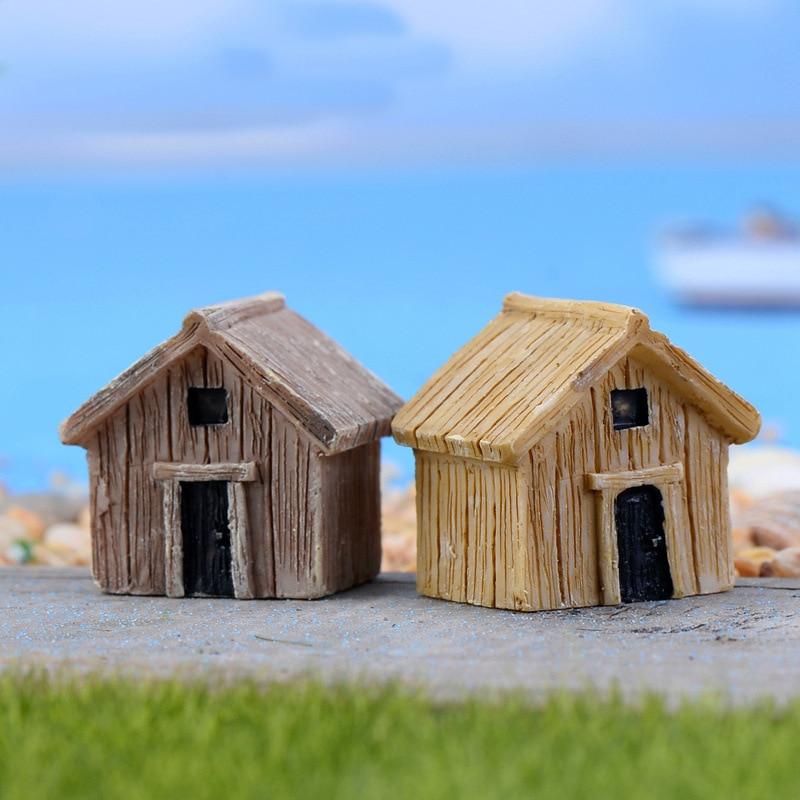 Wooden House Resin Miniature Figures Fairy Garden Animal Moss Ornaments Craft