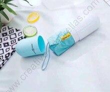 85cm Five fold alloy anti-thunder fiberglass windproof circular palm pocket pill umbrella anti-uv round bag capsule parasol
