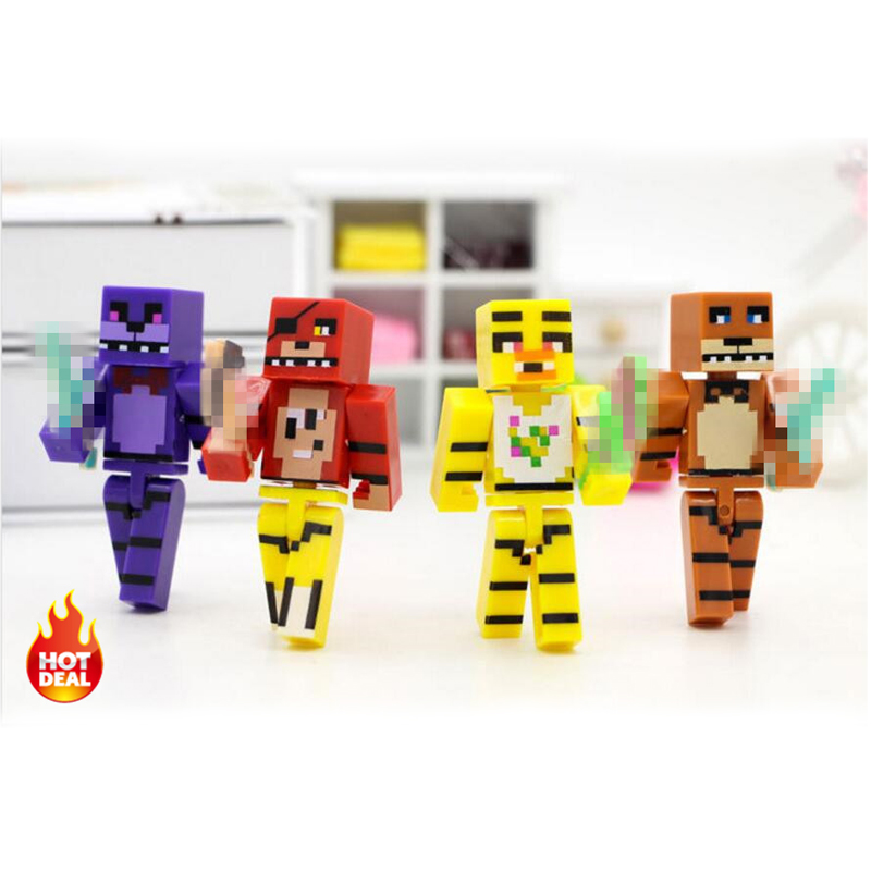 4pcs set Minecraft Five Nights At Freddy s 4 FNAF Foxy Chica Bonnie Freddy Action Figures